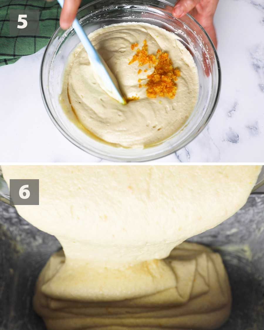 Last part of a collage of images showing the step by step process on how to make orange pound cake