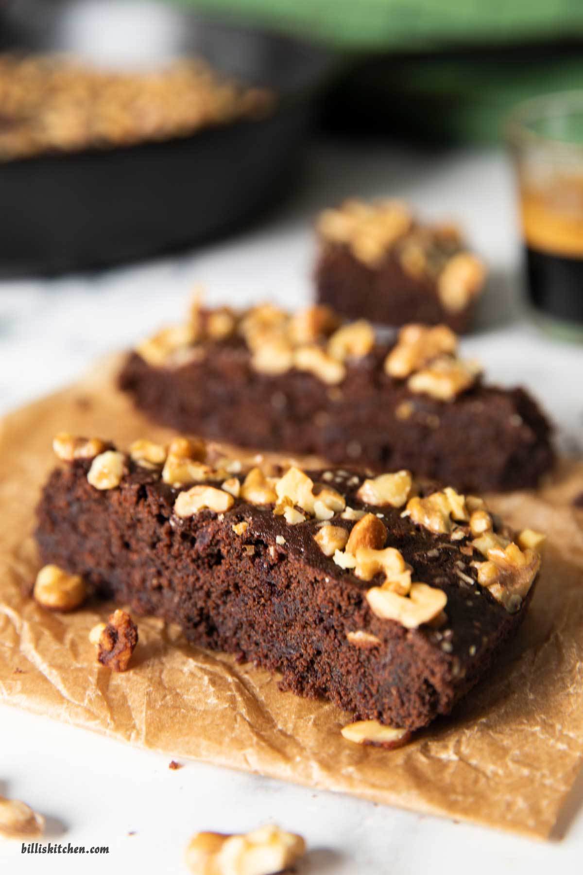An image showing a closer shot of the sliced brownies, highlighting the texture inside.