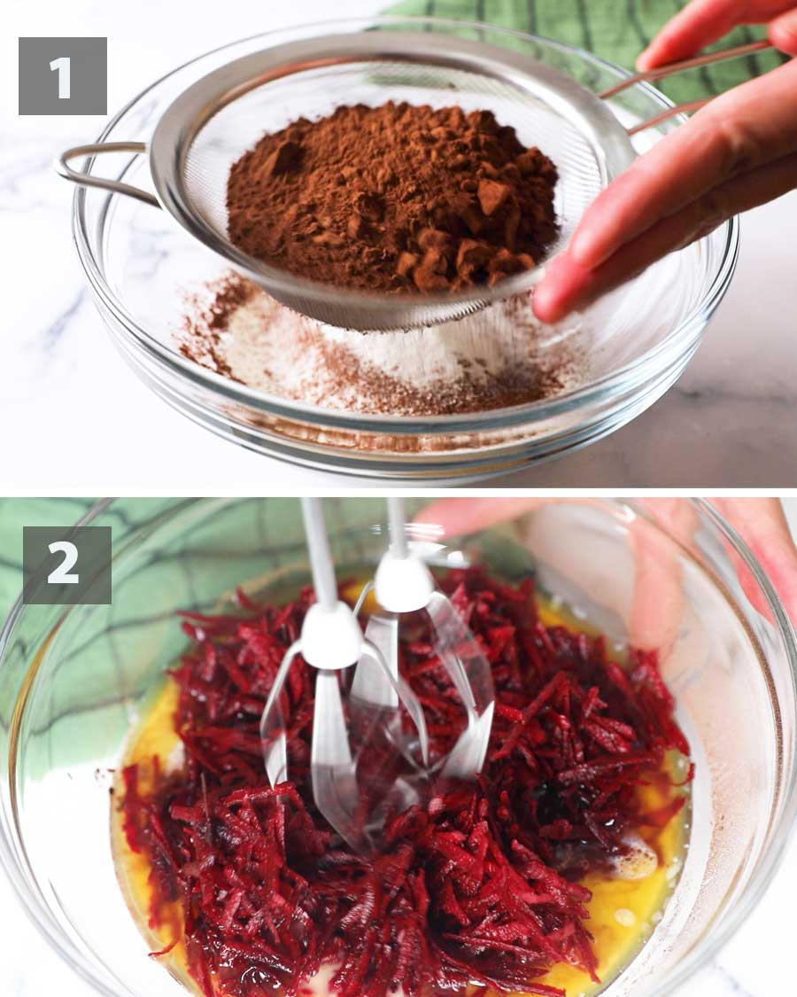 First part of a collage of images showing the step by step process on how to make Beet Chocolate Brownies.