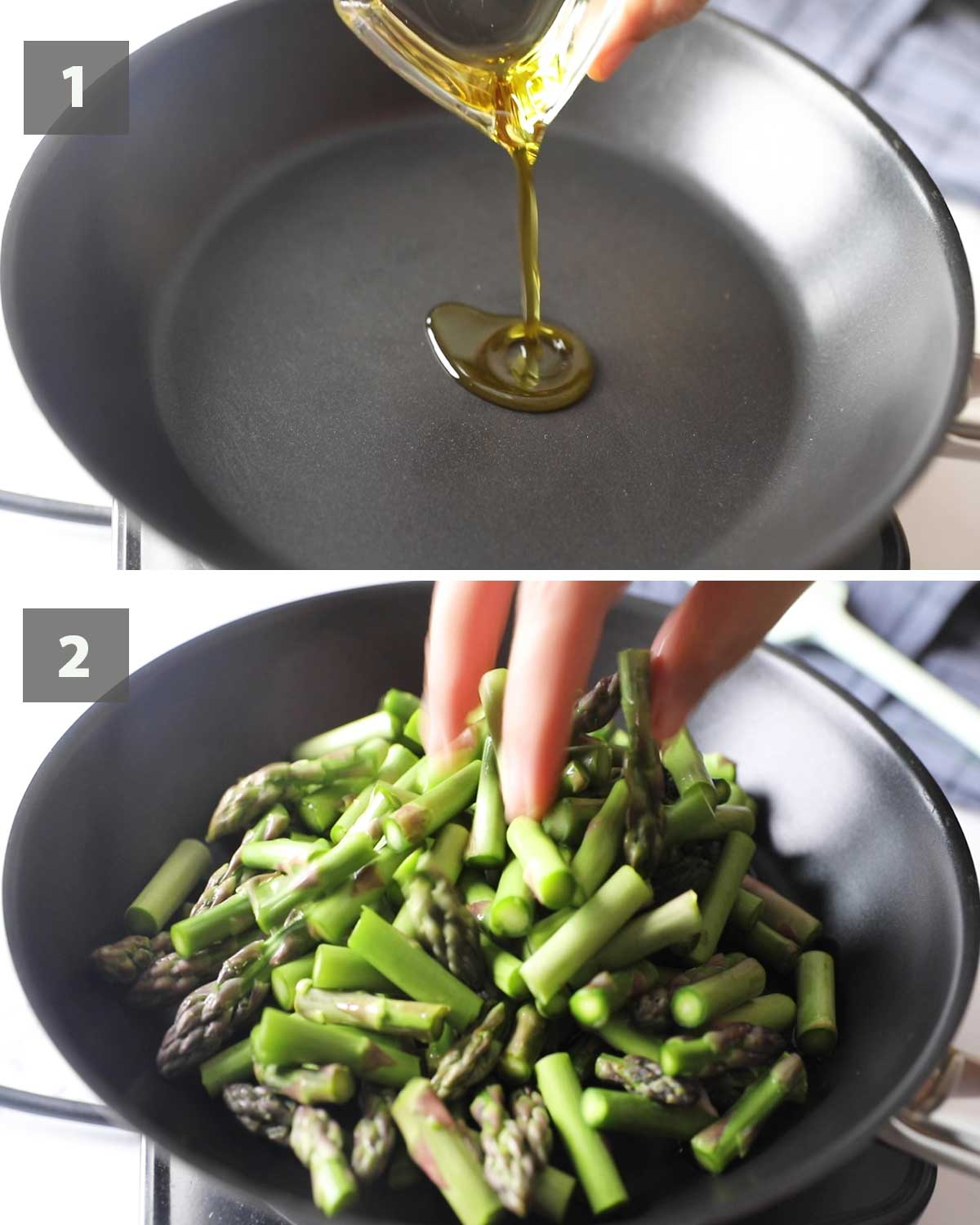 First part of collage of images showing the step by step process on how to make Sauteed Asparagus.