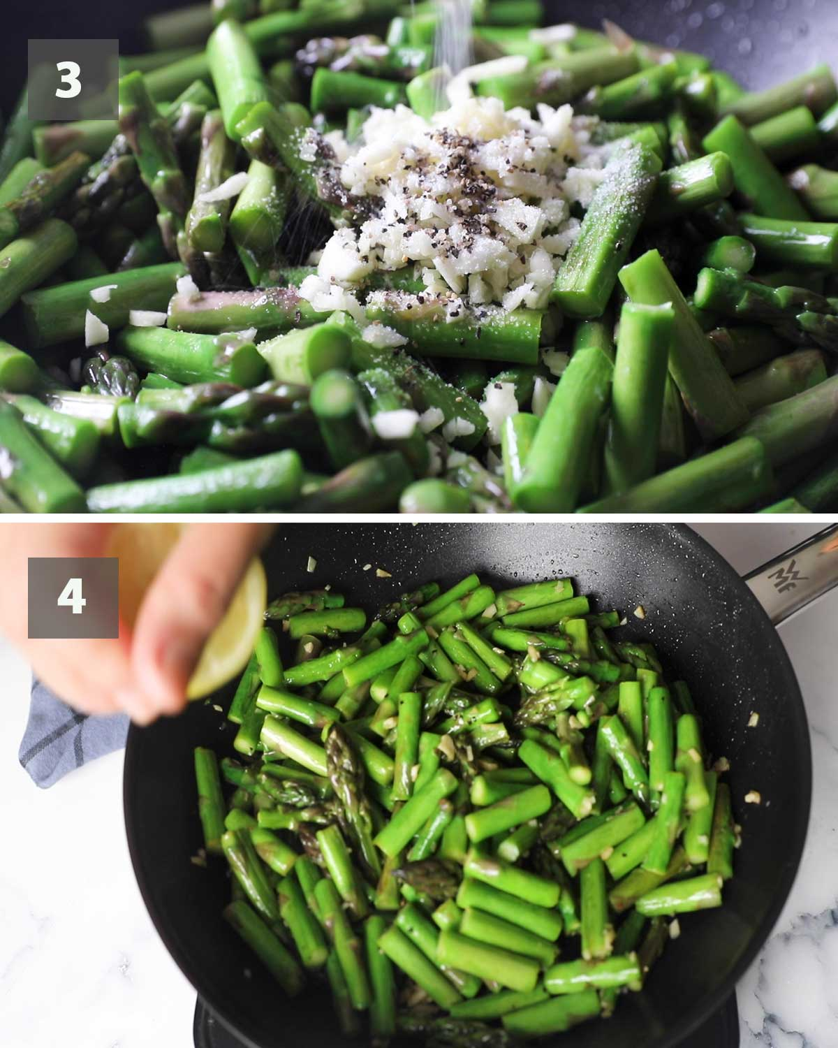 Second part of a collage of images showing the step by step process on how to make sauteed asparagus with garlic.,