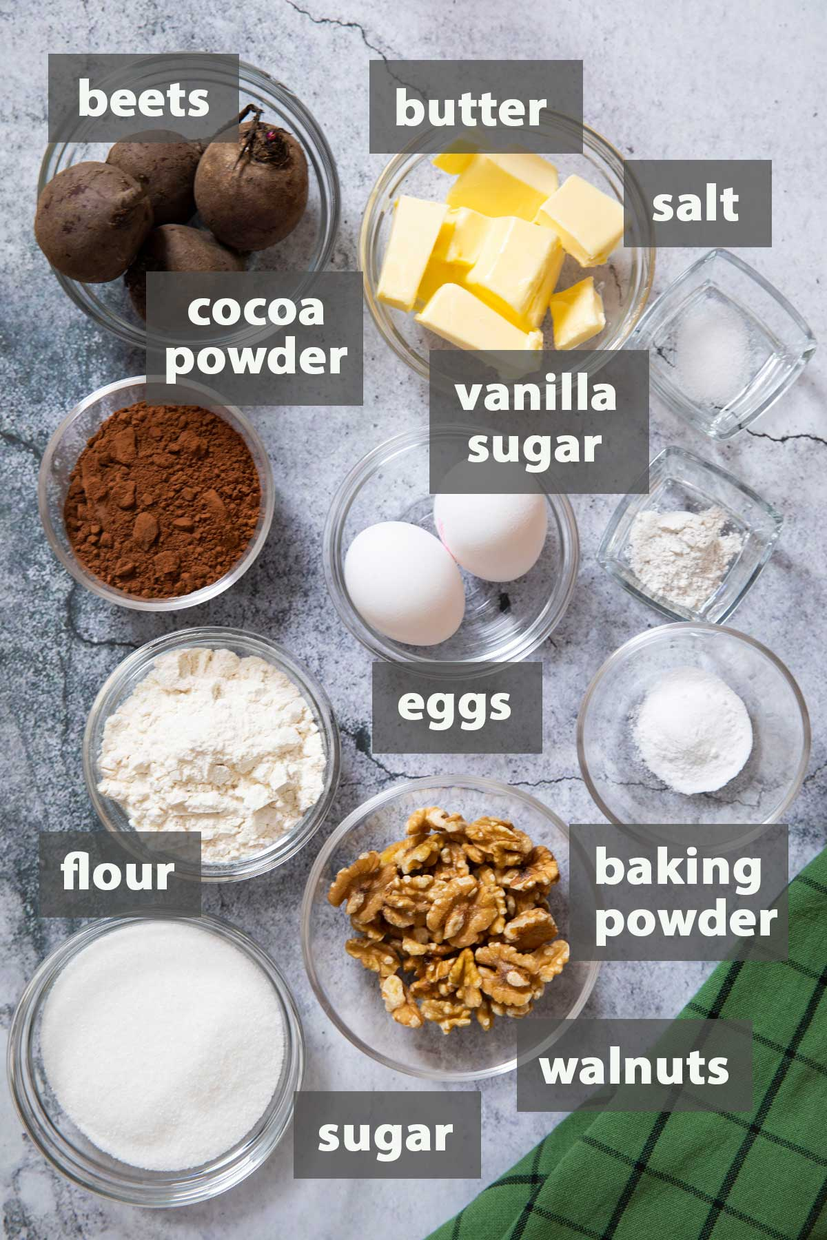 An image showing the ingredients that you need to prepare Chocolate and Beetroot Brownies