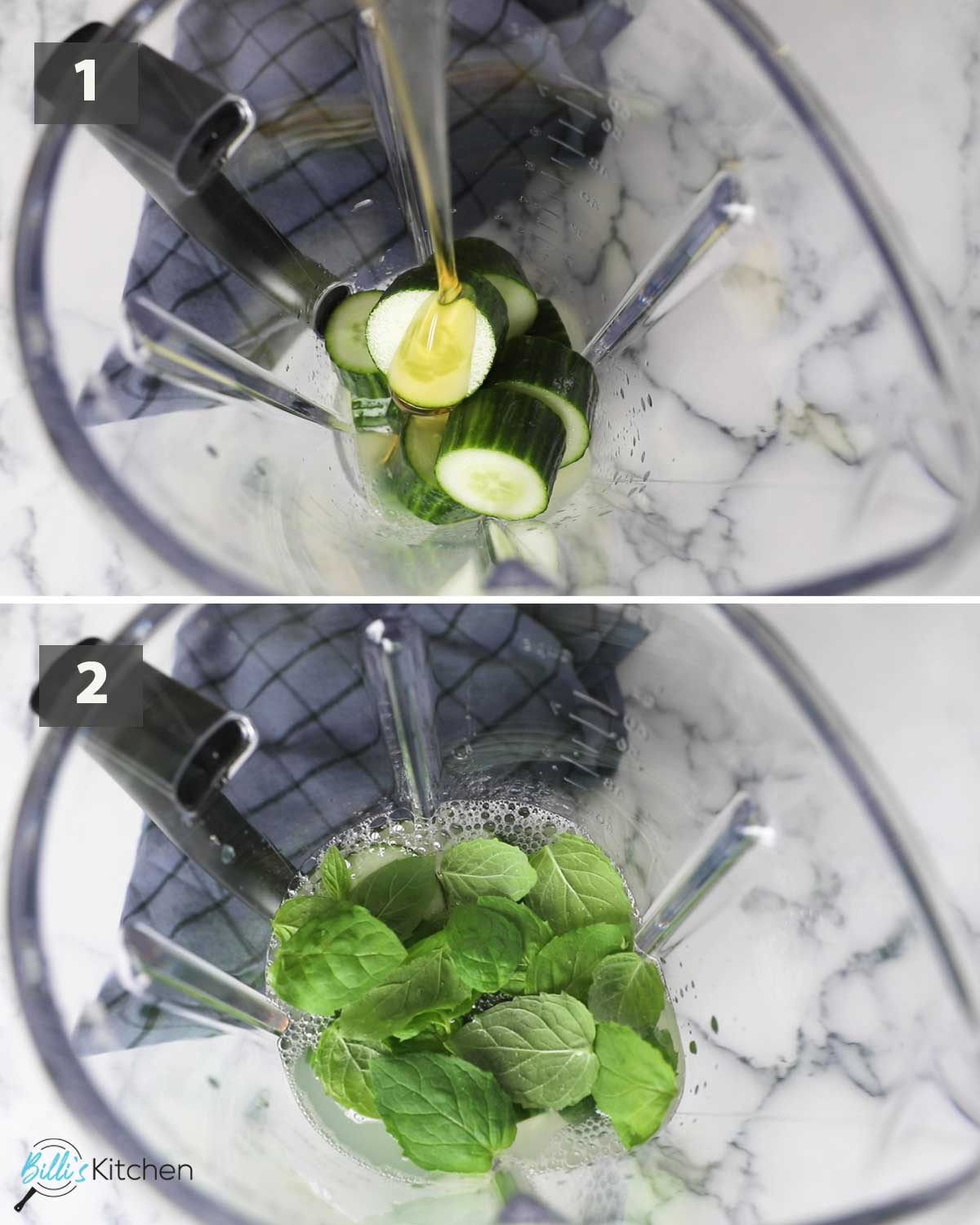 First part of a collage of images showing the step by step process on how to make cucumber mint lemonade.