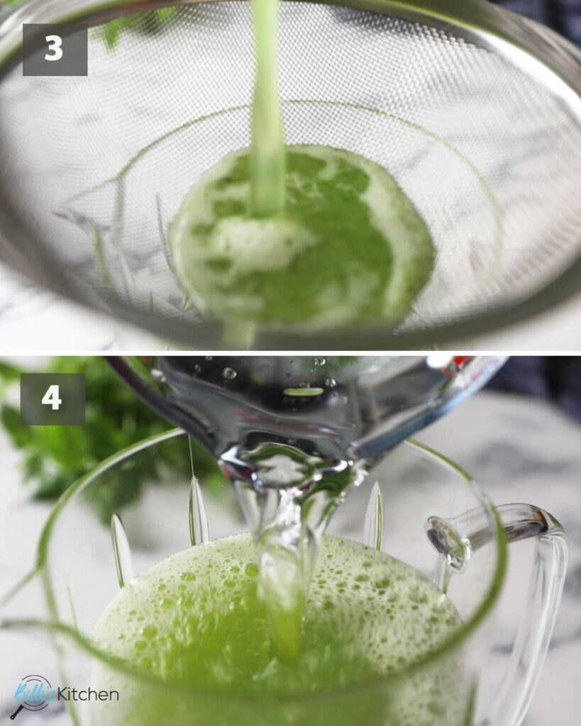 Second part of a collage of images showing the step by step process on how to make cucumber lemonade.