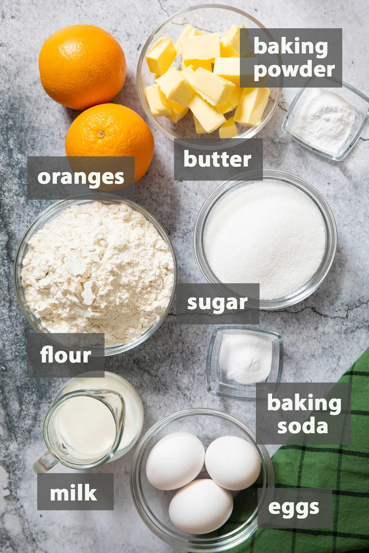 An image showing the ingredients that you need to prepare this delicious orange pound cake
