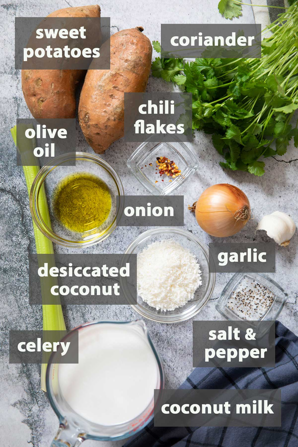 An image showing all the ingredients that you need to prepare creamy Sweet Potato Coconut Soup.