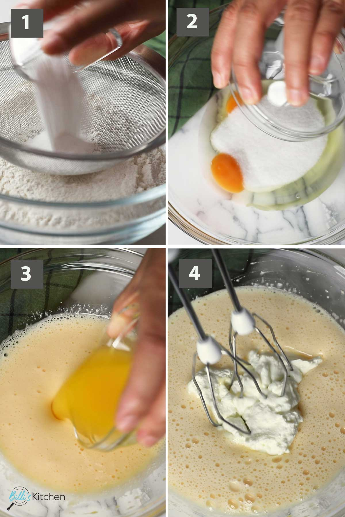 First part of a collage of images showing the step by step process on how to make lemon yogurt muffins.
