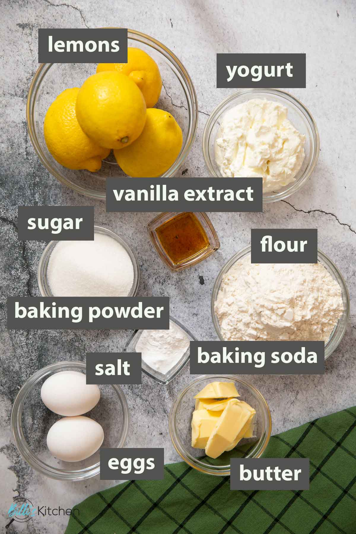 An image showing all the ingredients you need to make easy lemon muffins.