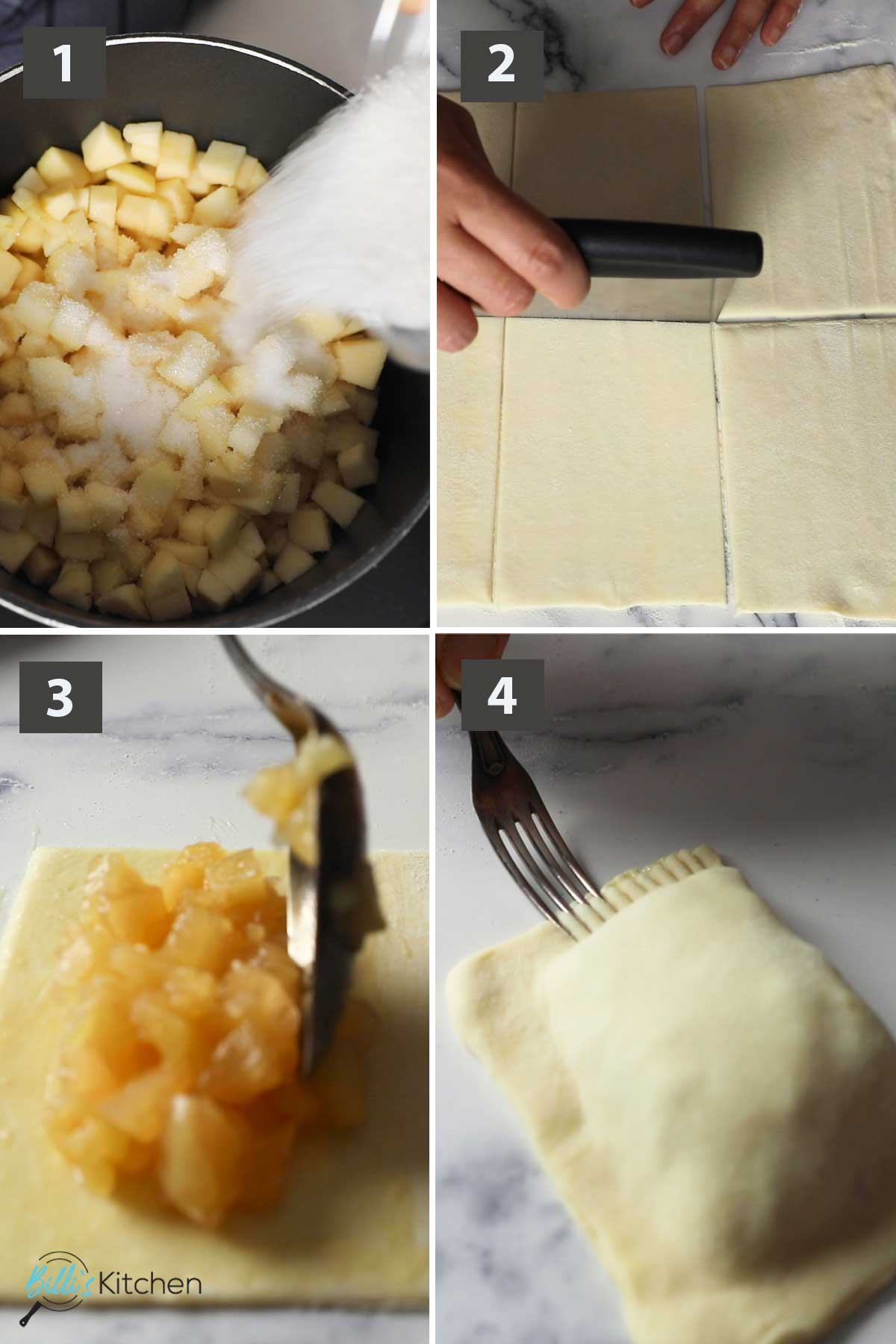 First collage of images showing the step by step process on how to prepare apple turnovers with puff pastry.