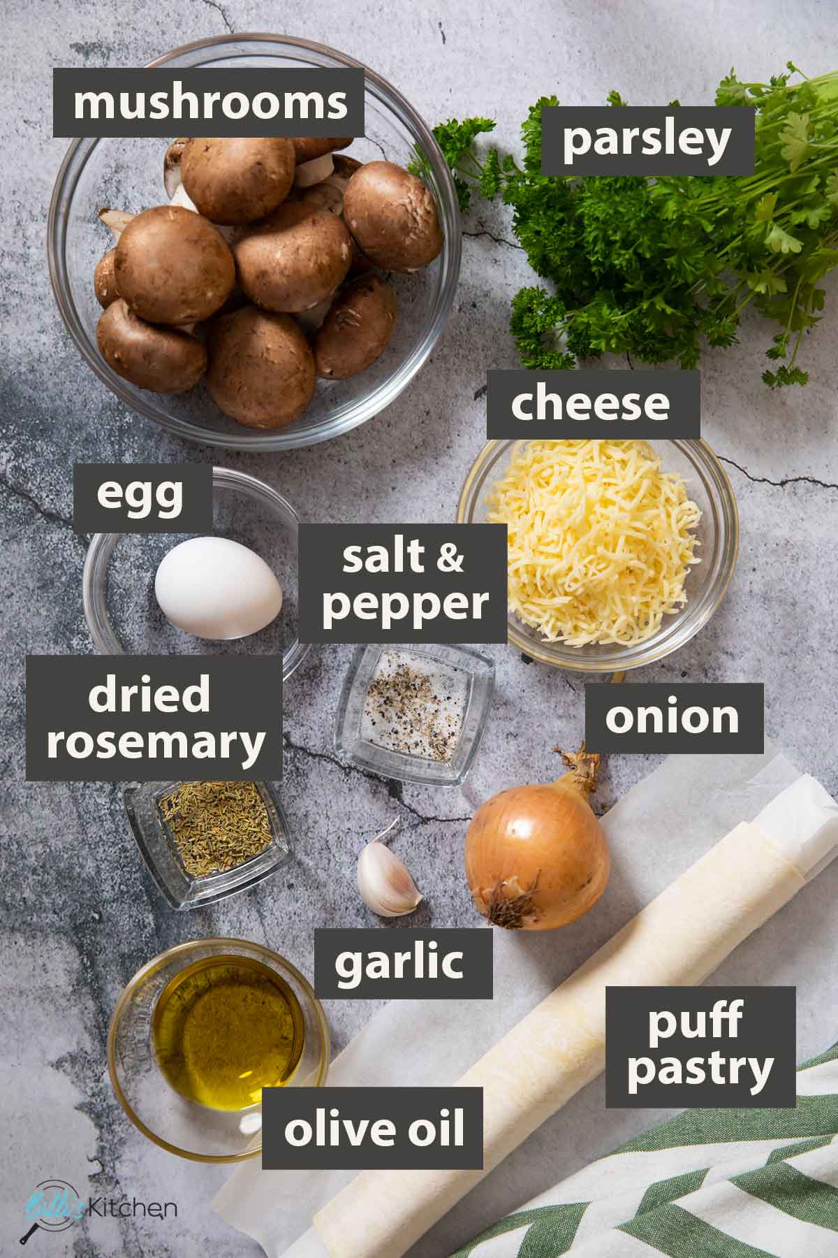 An image showing all the ingredients you need to prepare mushroom tart using puff pastry.