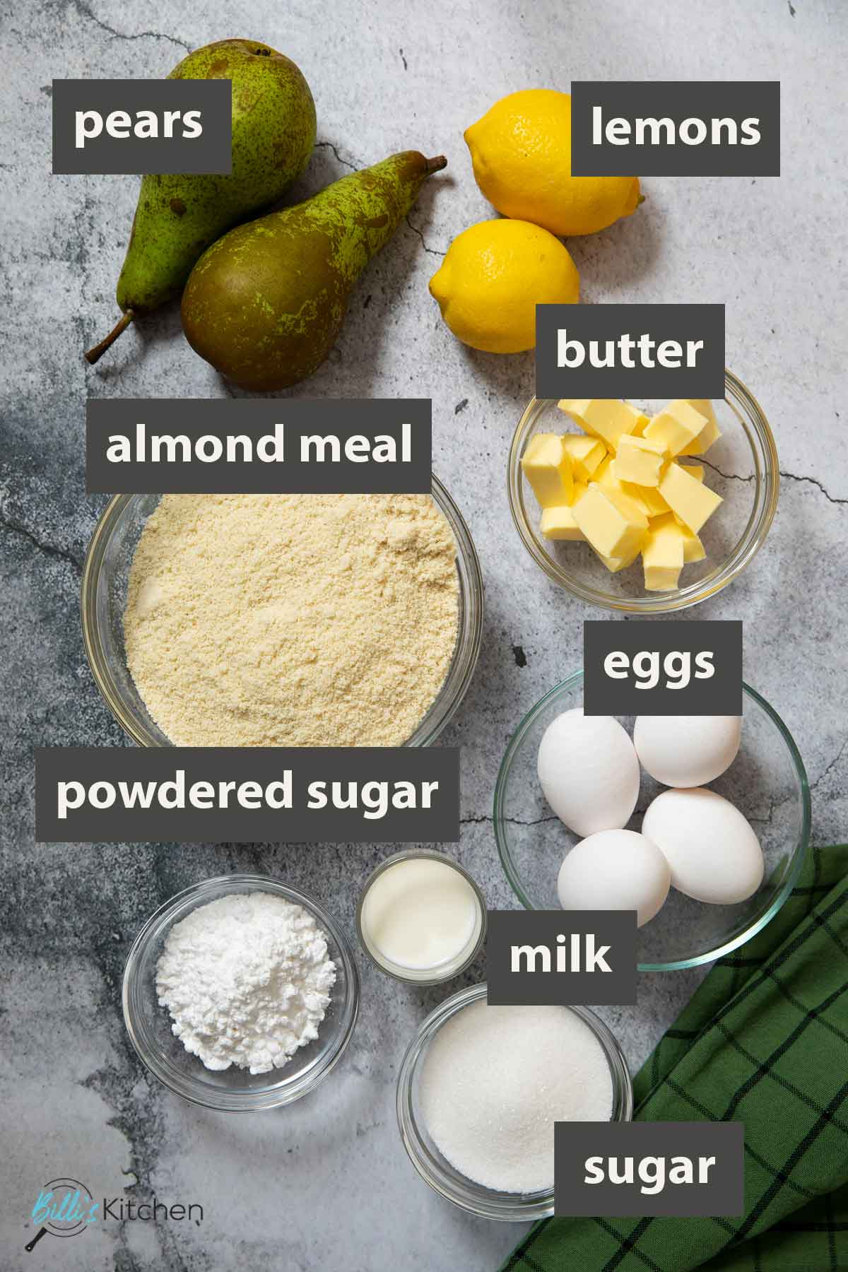 An image showing all the ingredients you need to prepare Almond Pear Cake.