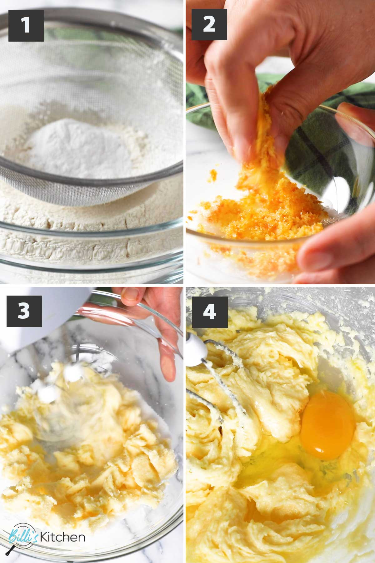 Latest First part of a collage of images showing the step by step process on how to prepare orange pound cake.