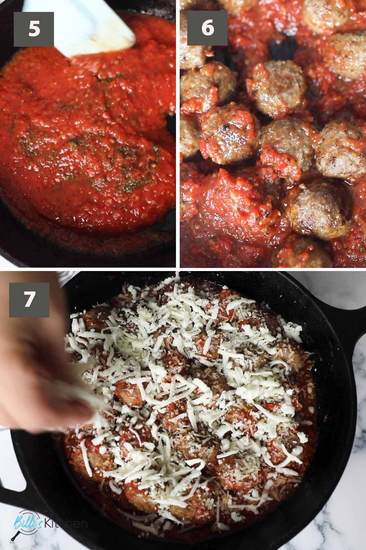 Second part of a collage of images showing the step by step process on how to cook meatballs in the oven.