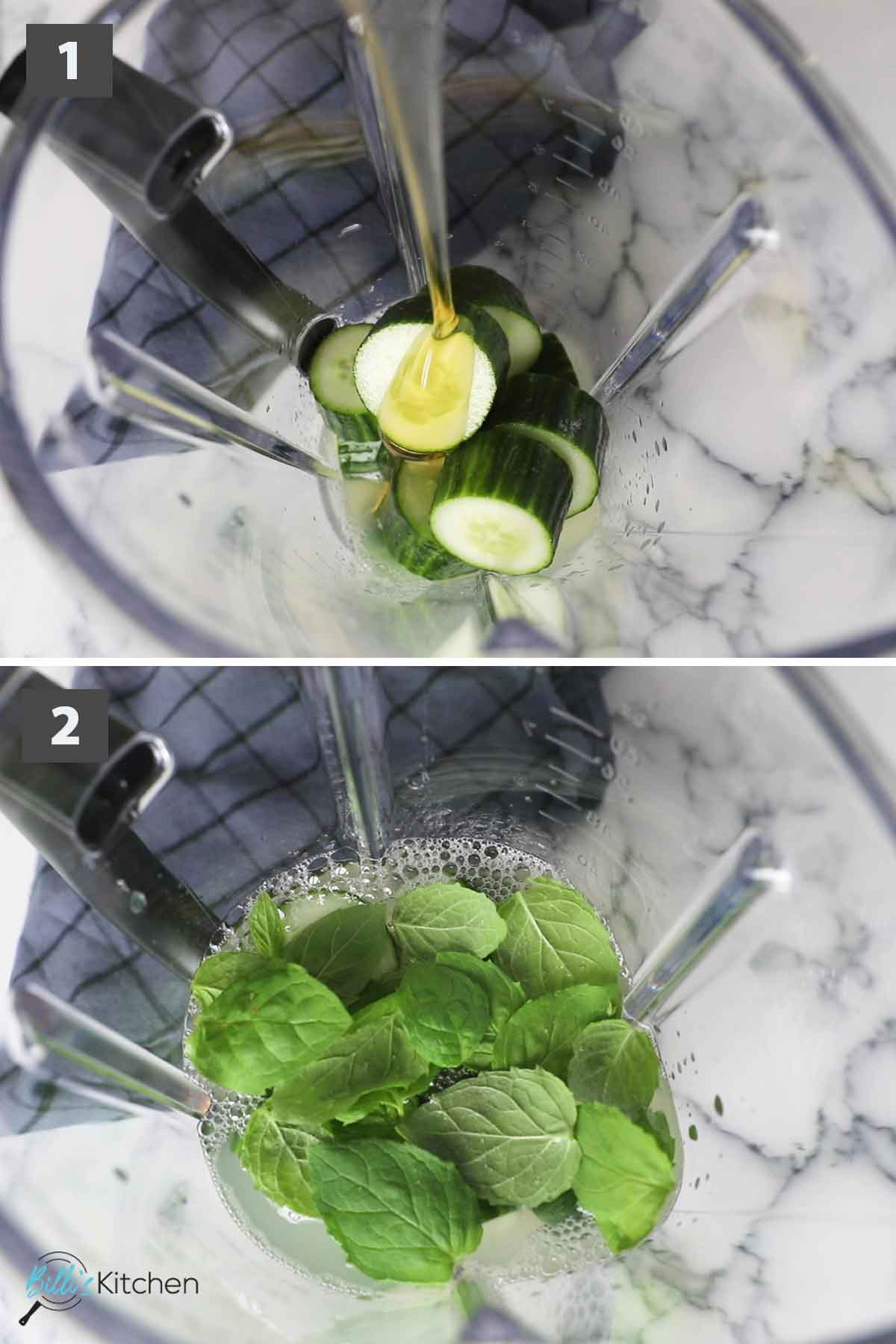 Updated first part of a collage of images showing the step by step process of preparing cucumber lemonade.