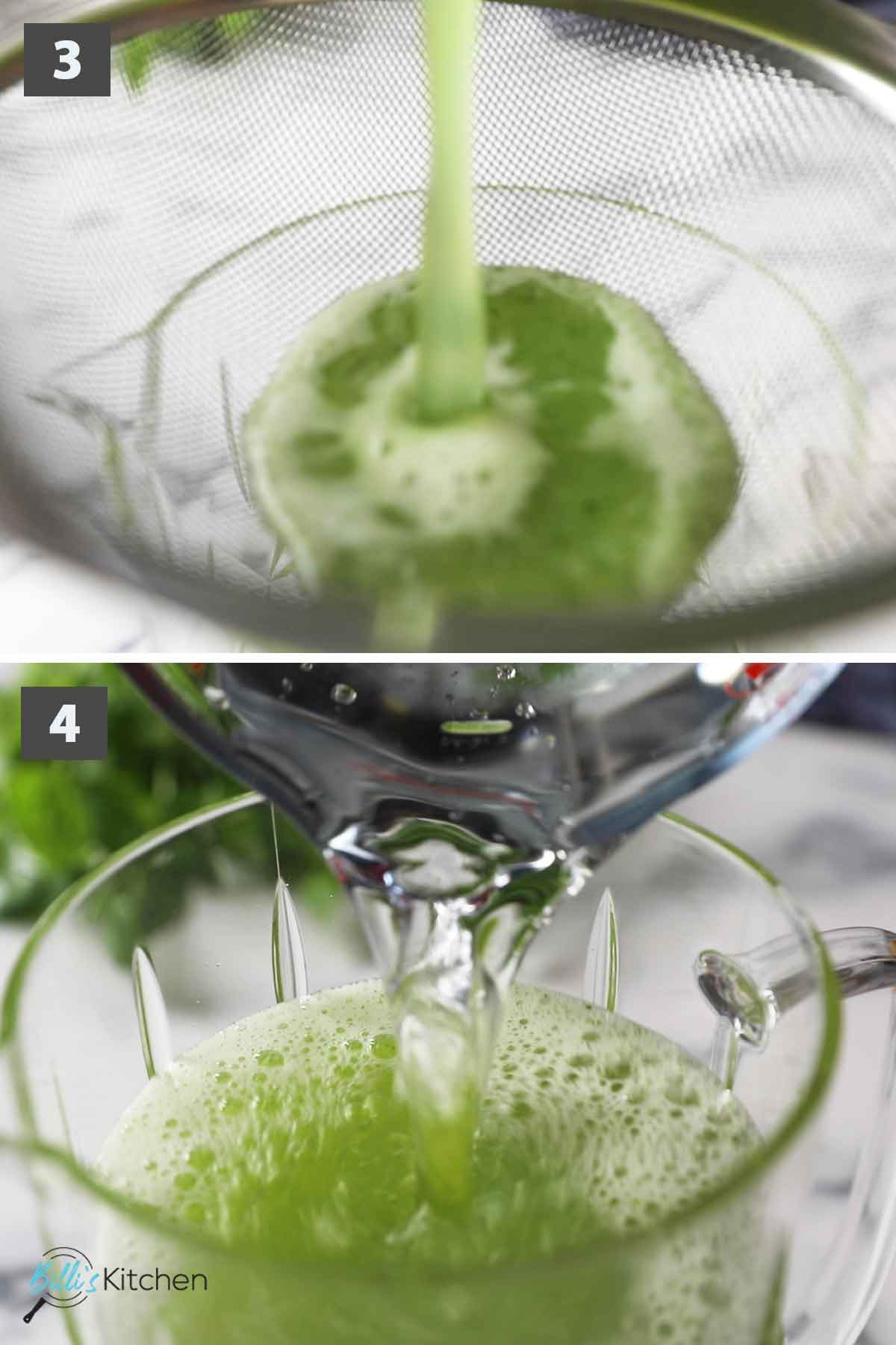 Update second part of a collage of images showing the step by step process on how to make cucumber mint lemonade at home.