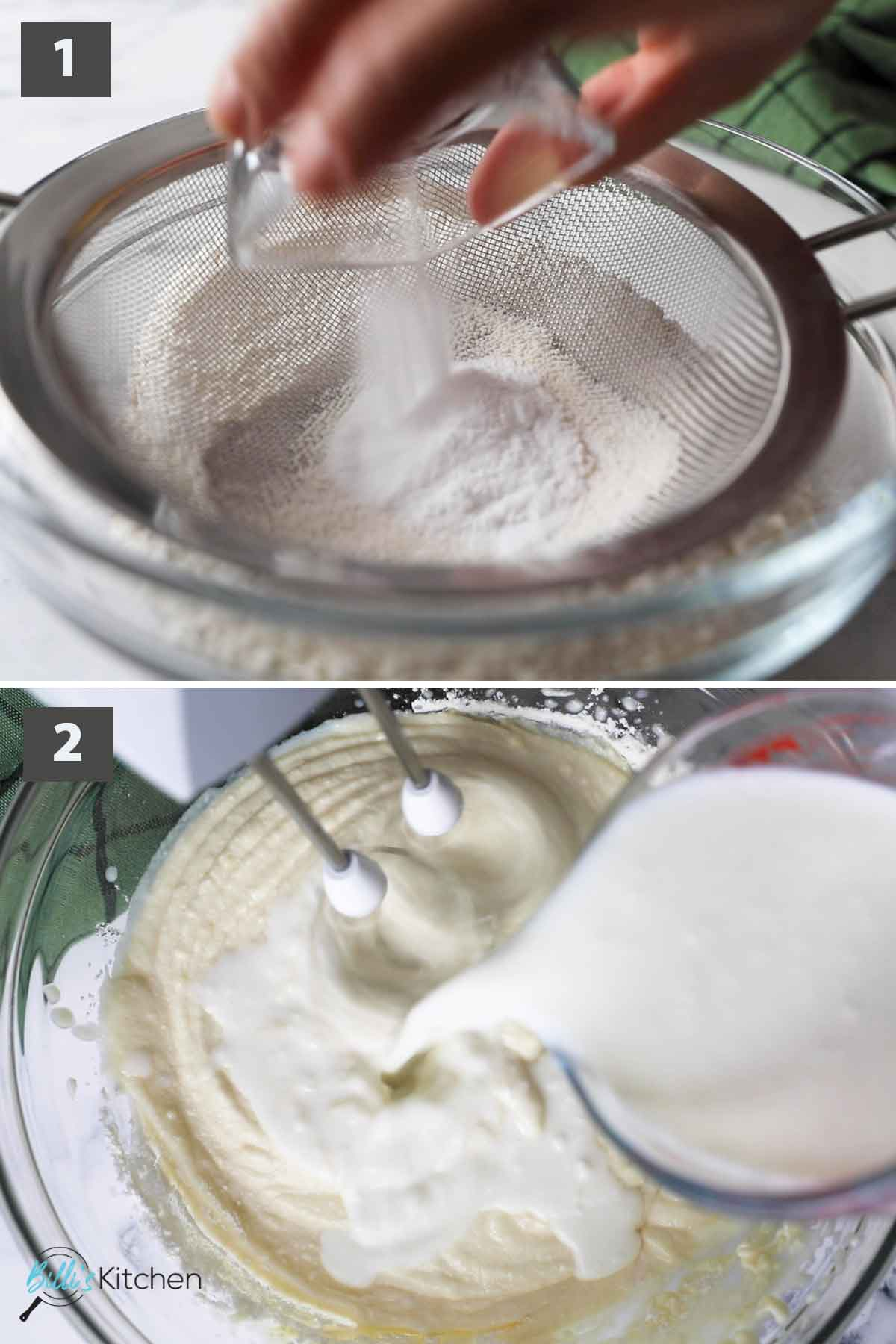 Updated first part of a collage of images showing the step by step process on how to make cherry muffins at home.
