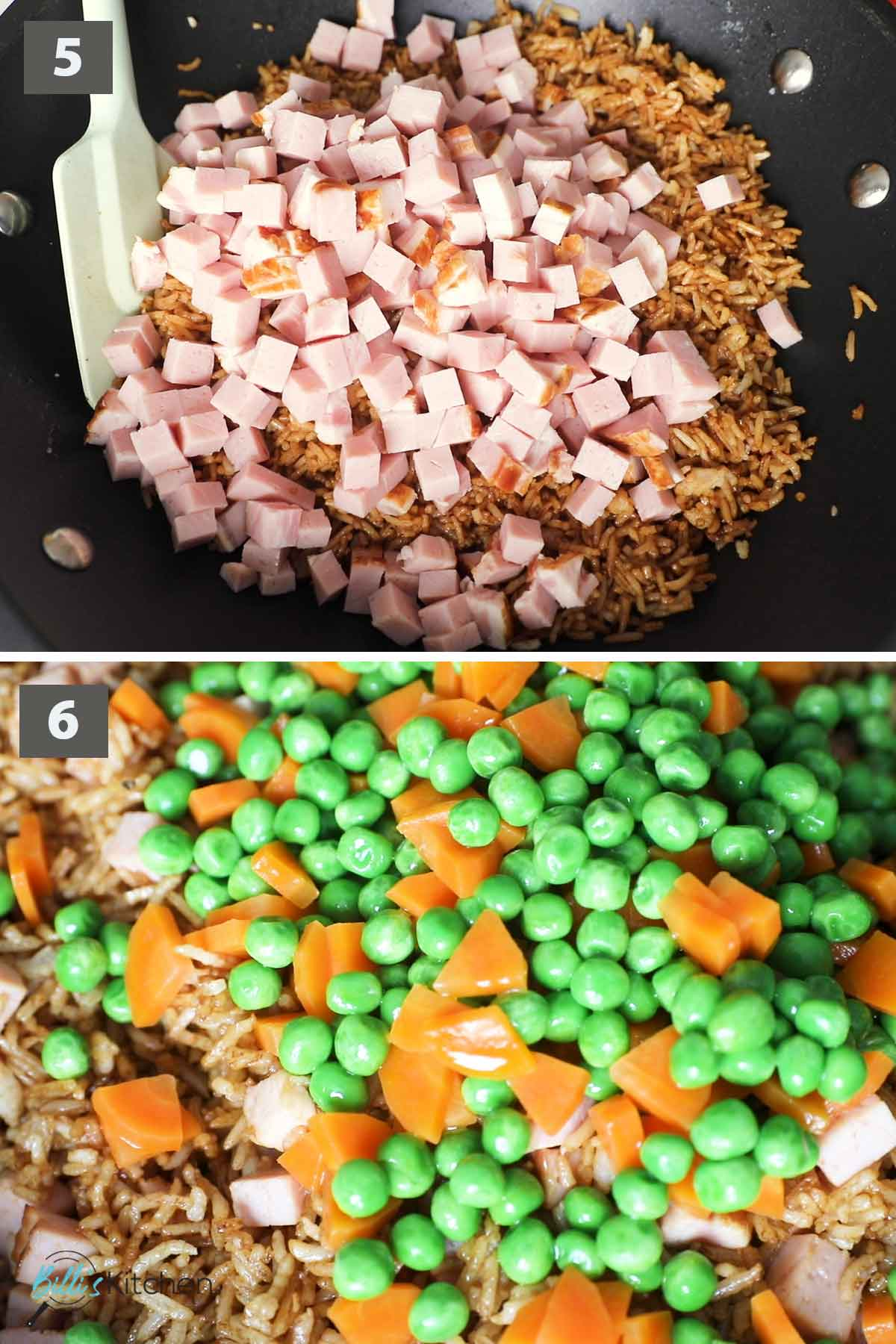 Second part of a collage of images showing the step by step process of making fried rice with ham.