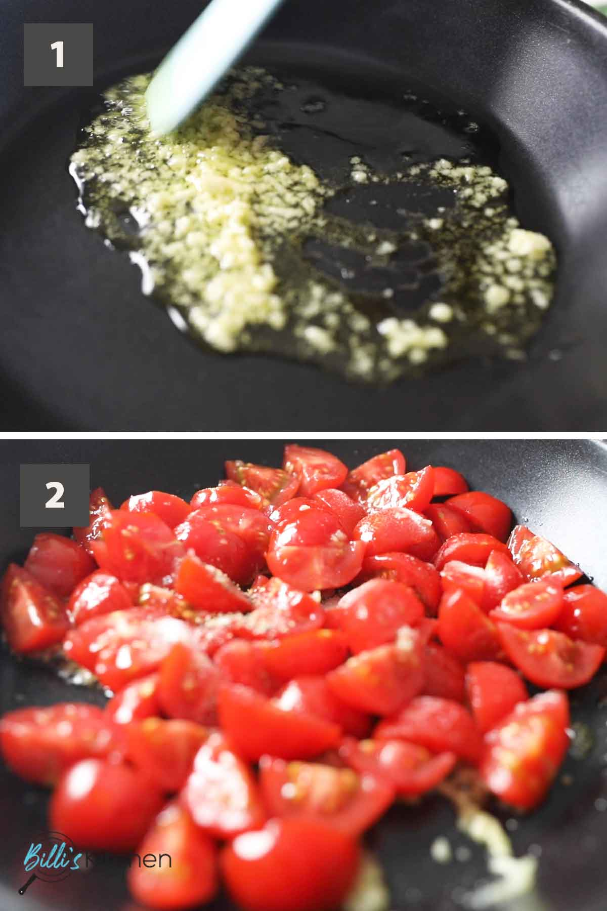 First part of a collage of images showing the step by step process of making pasta with cherry tomato sauce.