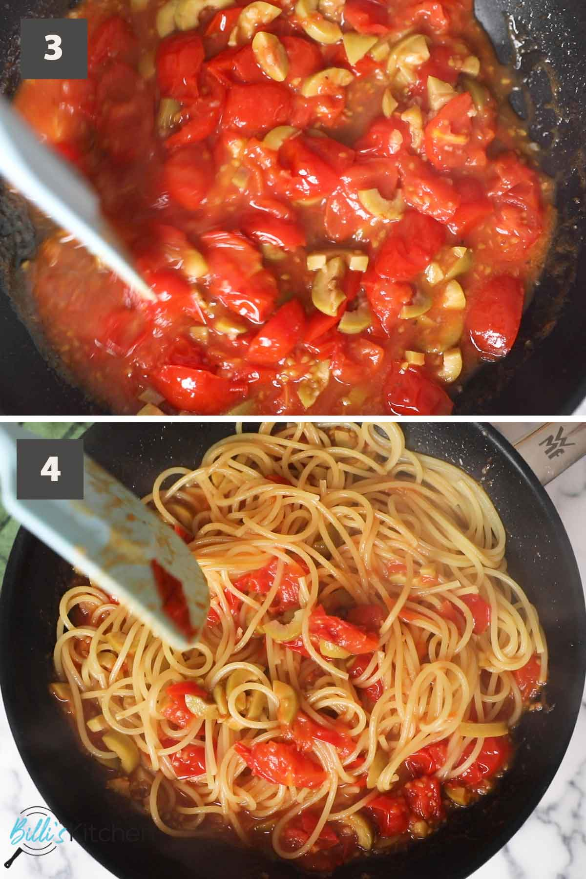 Second part of a collage of images showing how to prepare 15-Minute Cherry Tomato Pasta.