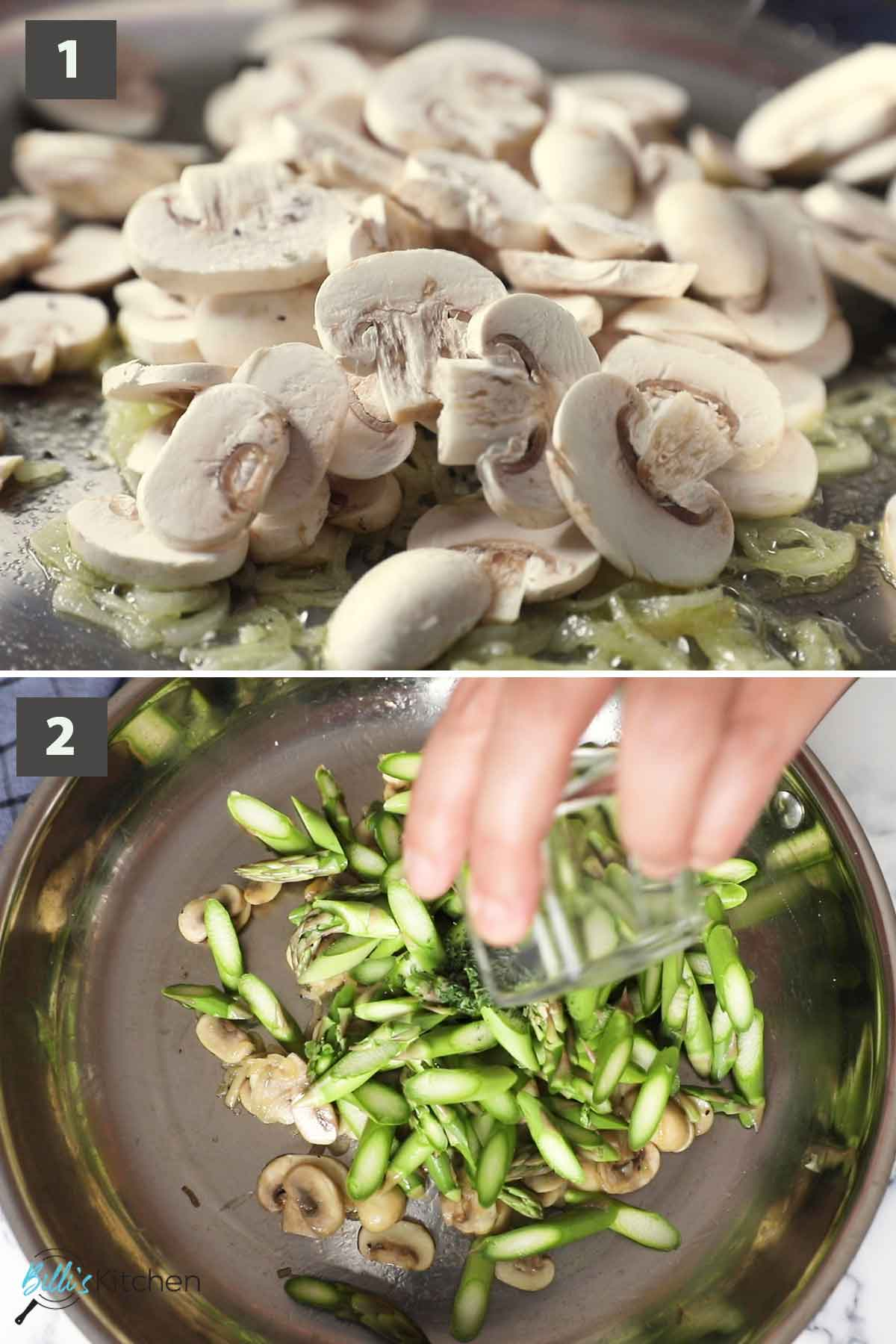 First part of a collage of images showing the step by step process on how to prepare mushroom asparagus pasta at home.