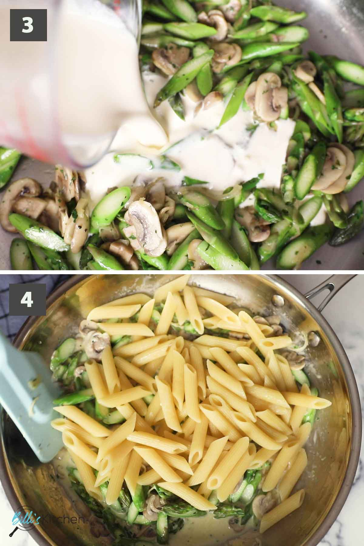 Second part of a collage of images showing the step by step process of preparing creamy pasta with asparagus and mushrooms.