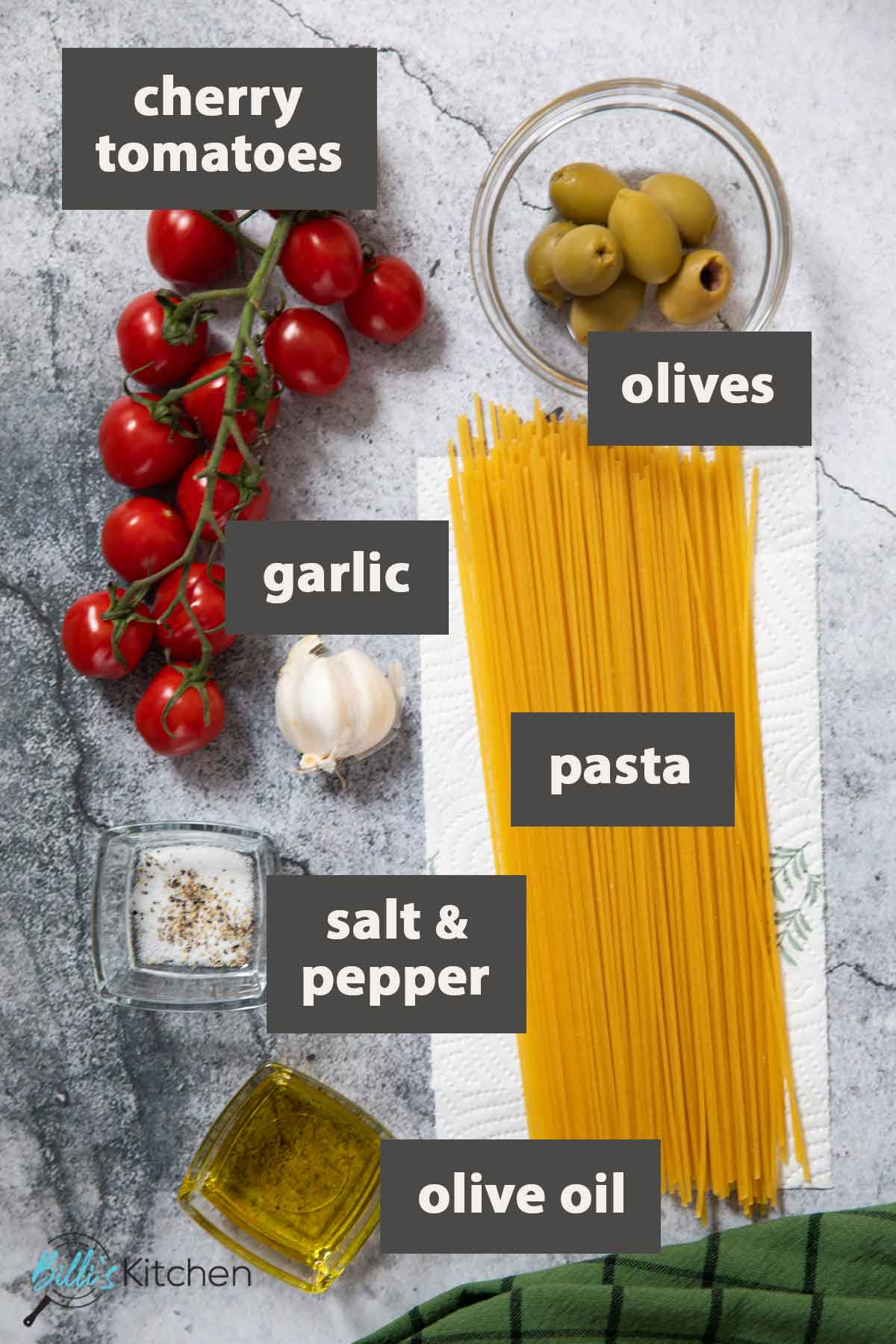 An image showing all the ingredients you need for making 15-Minute Cherry Tomato Pasta.