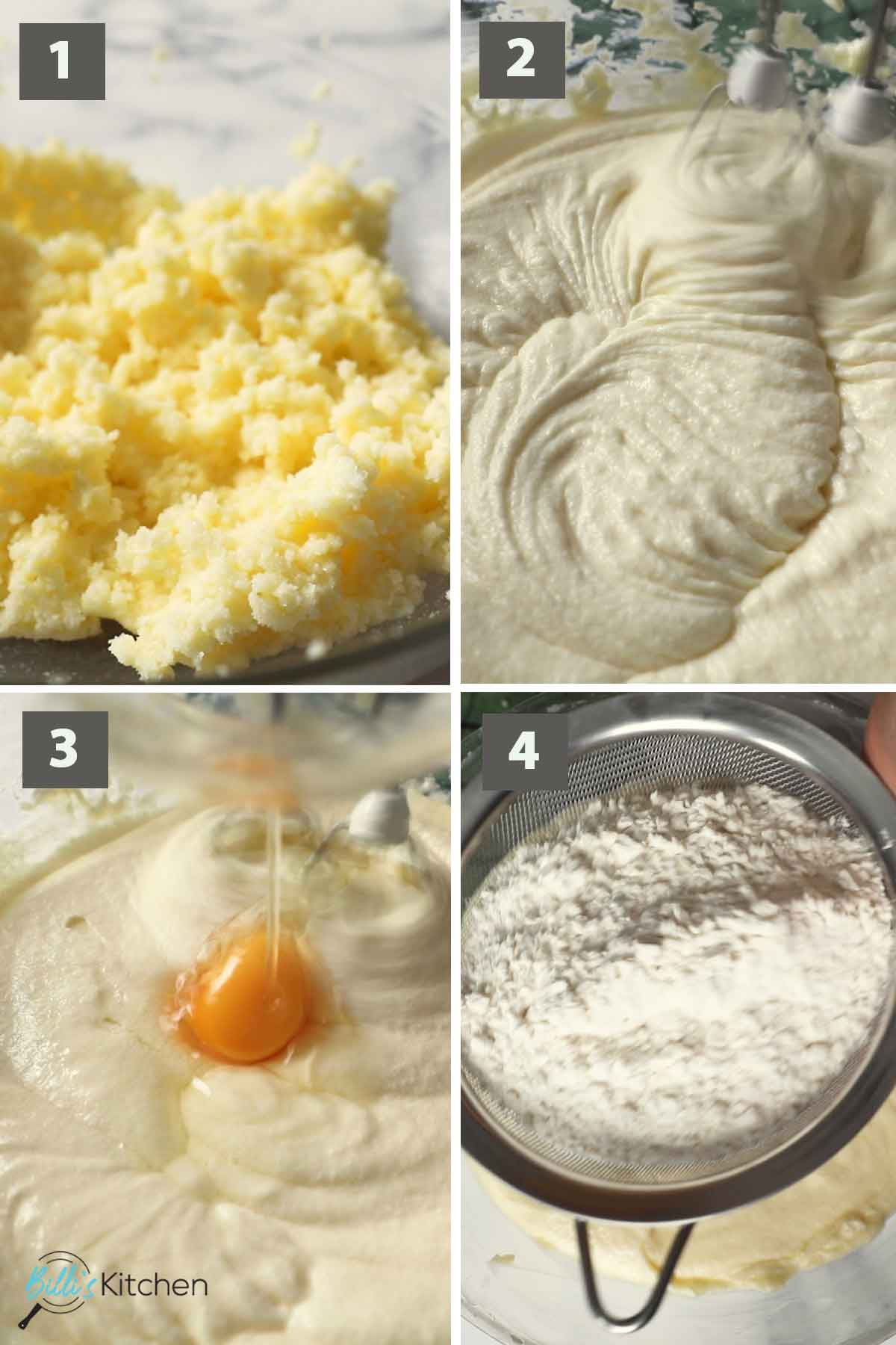 First part of a collage of images showing the step by step process on how to make Lemon Ricotta Cake.