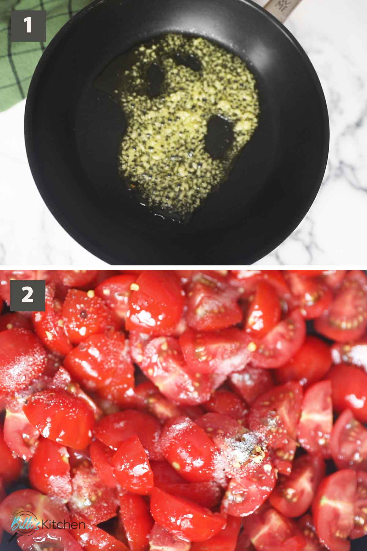 First part of a collage of images showing the step by step process on how to make creamy mascarpone pasta.