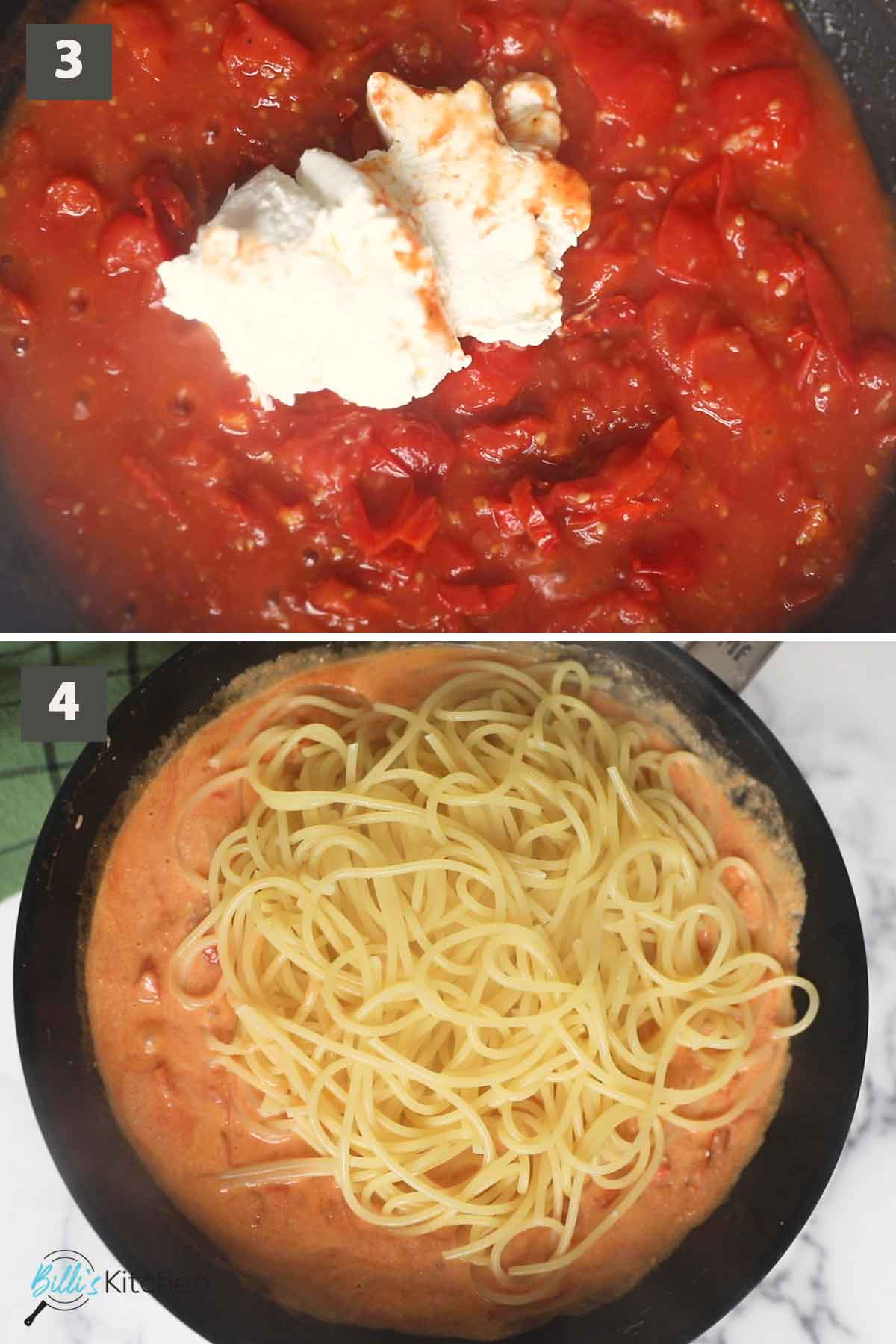 Second part of a collage of images showing the step by step process on how to prepare 15-Minute Tomato and Mascarpone Pasta at home.