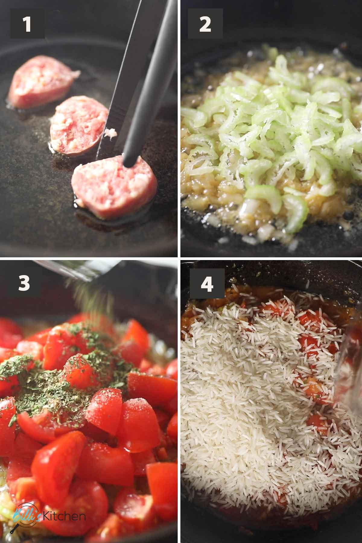First part of a collage of images showing the step by step process on how to prepare sausage and rice.