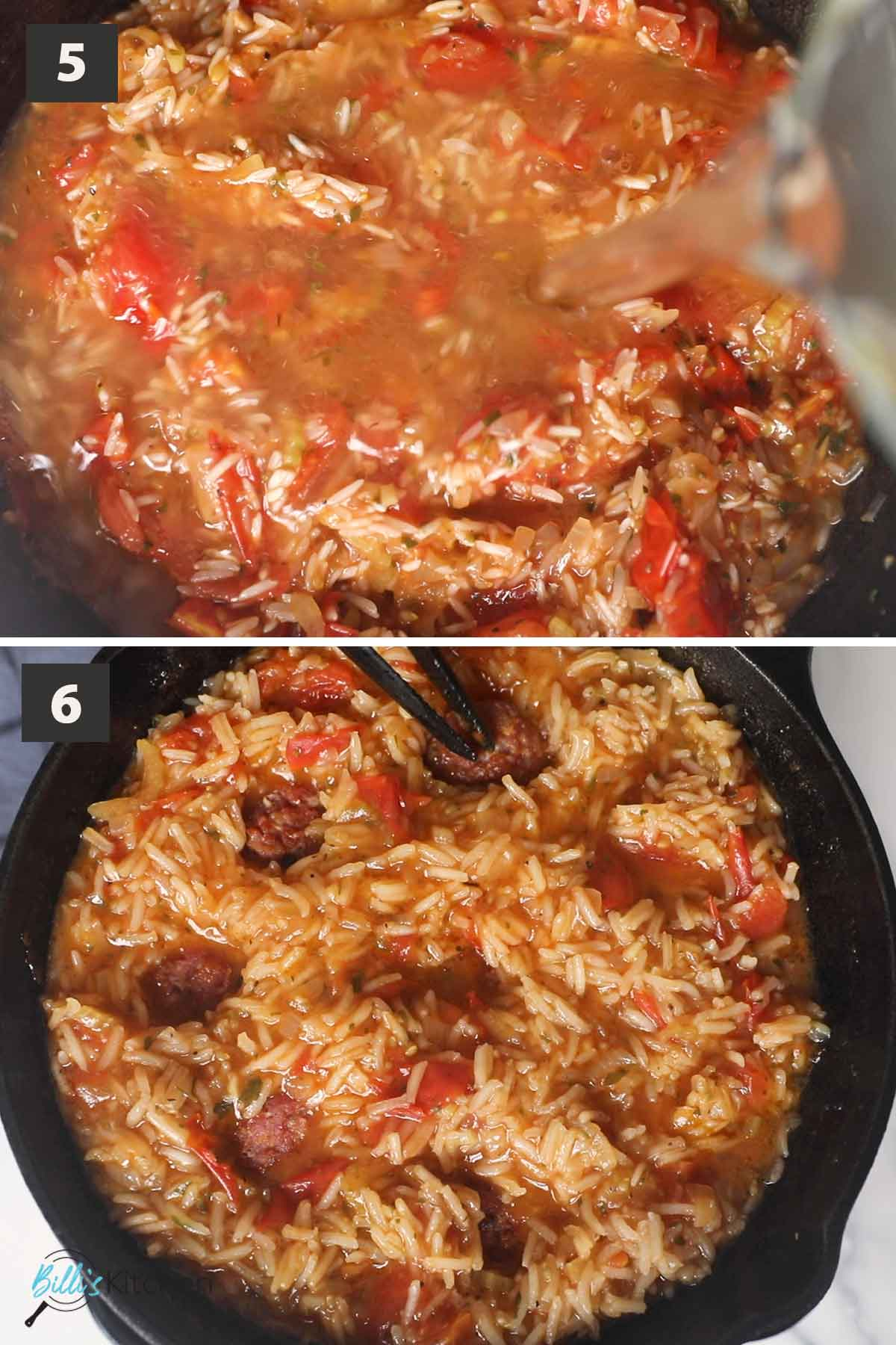 Second part of a collage of images showing the step by step process on making Italian Sausage and Rice in one pot.