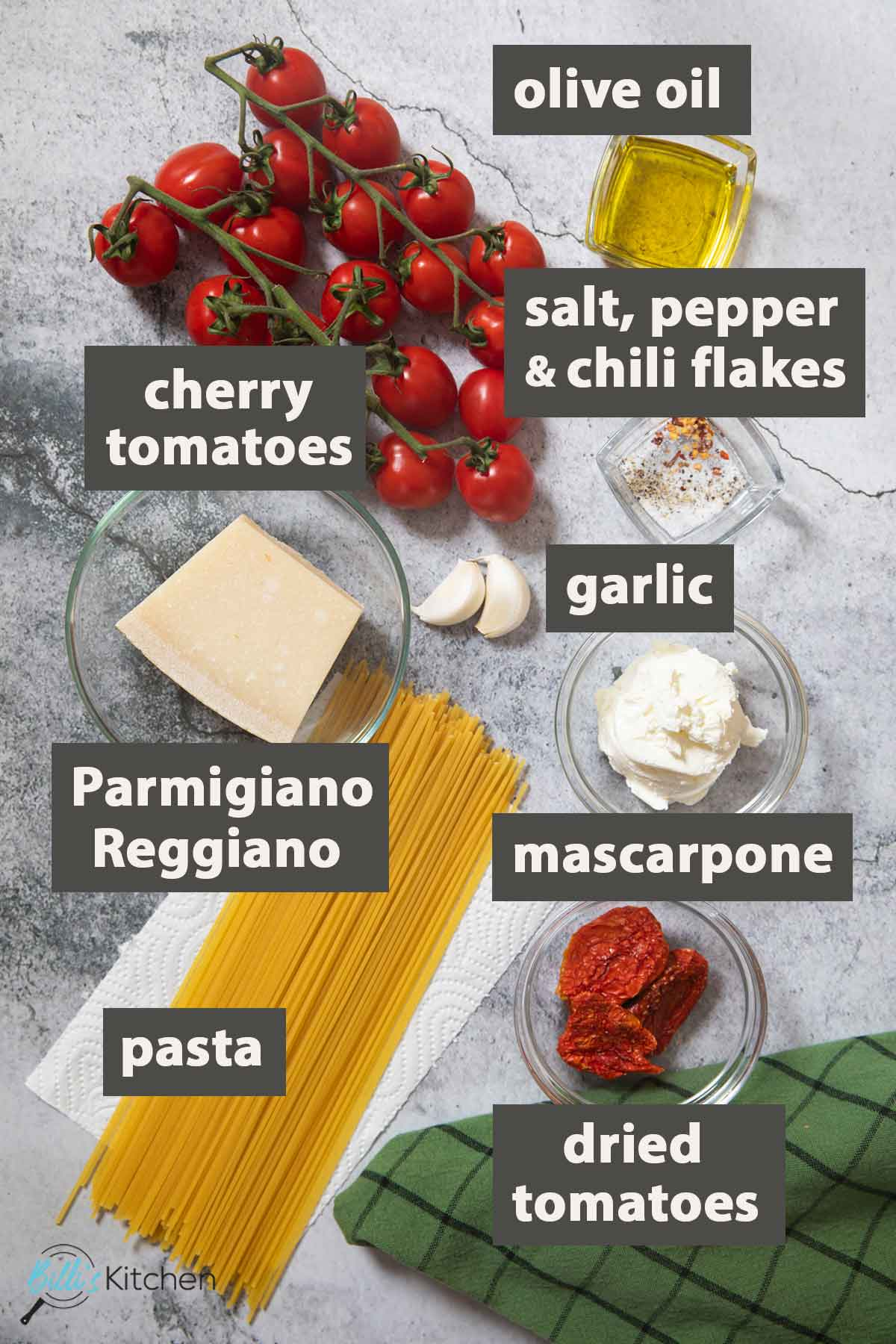 An image showing all the ingredients you need to prepare 15-Minute Tomato Mascarpone Pasta