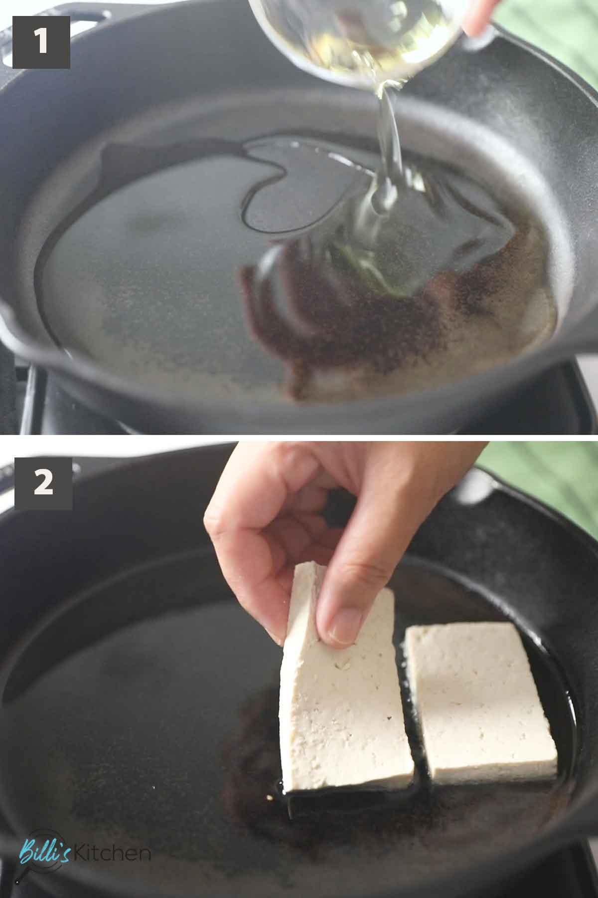 First part of a collage of images showing the step by step process on how to prepare crispy tofu.