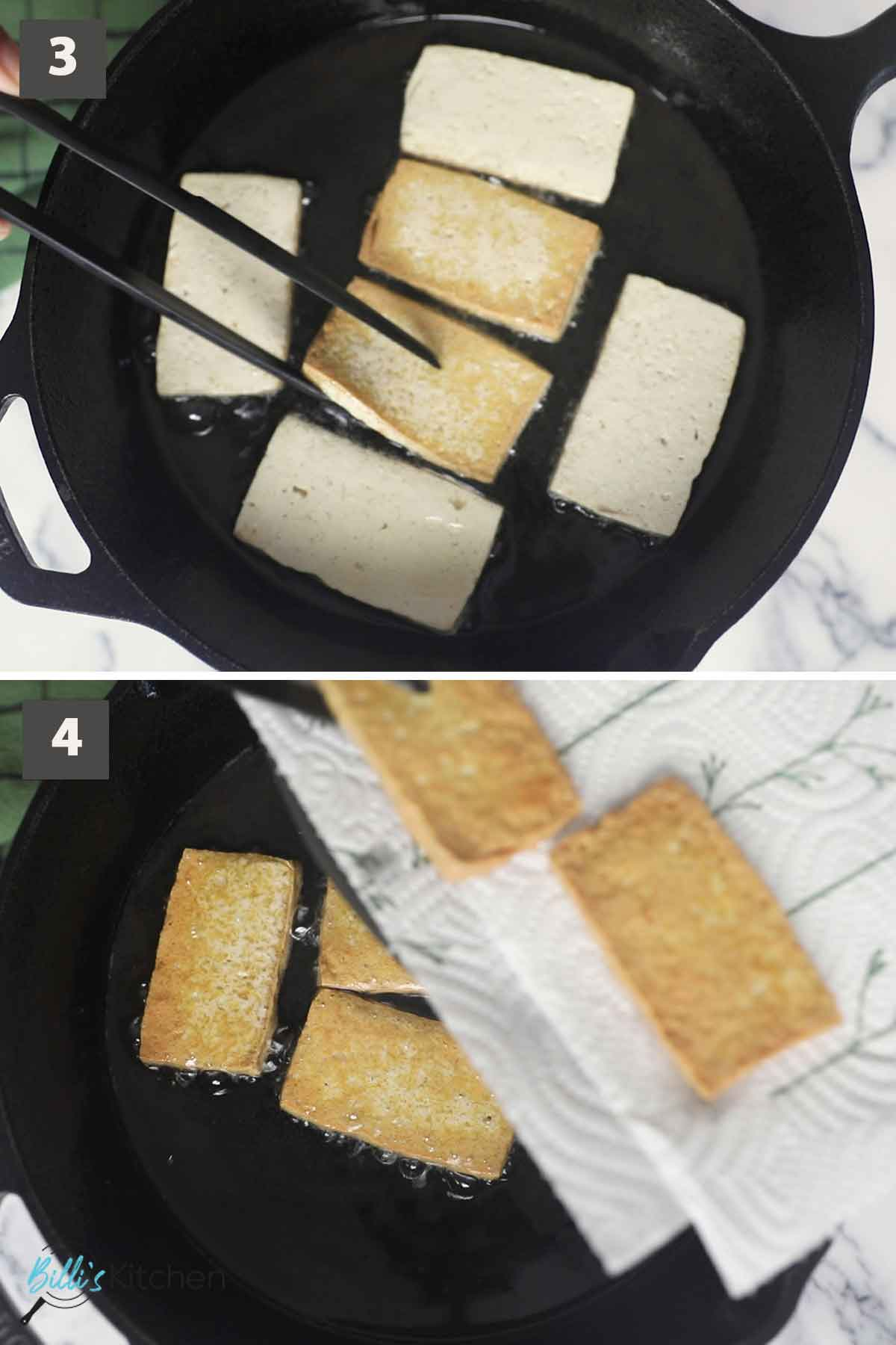 Second part of a collage of images showing the step by step process on how to fry crispy tofu.