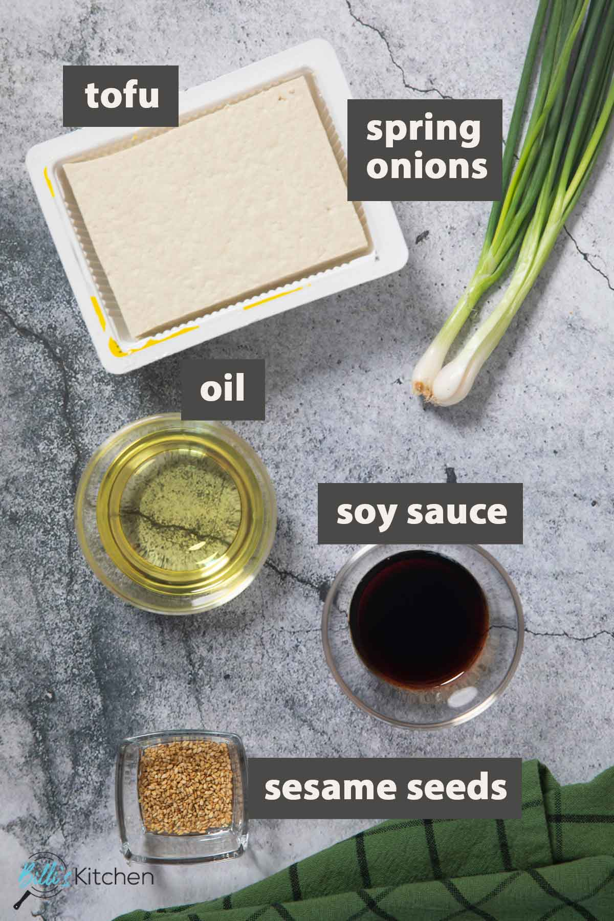 An image showing all the ingredients you need to prepare crispy tofu with soy dipping sauce.