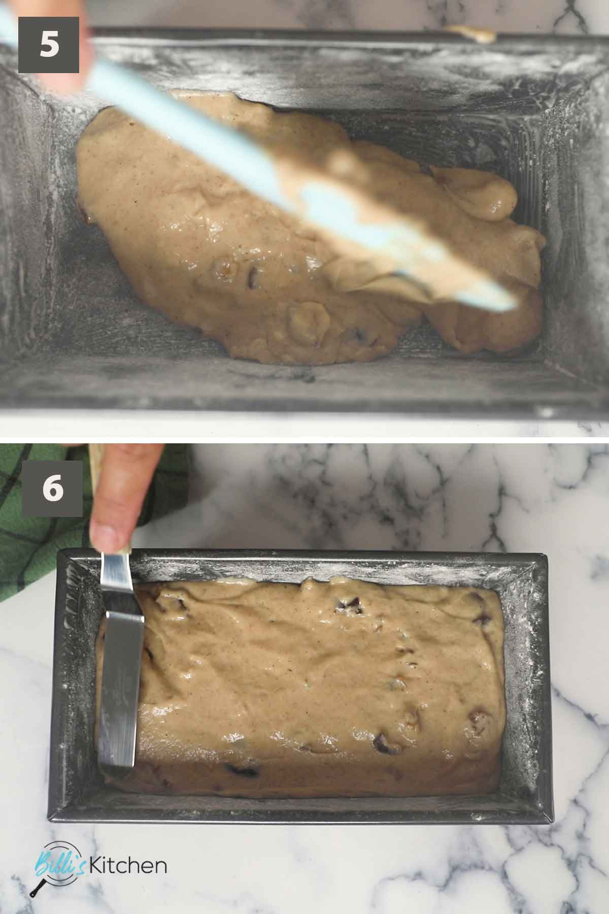 Second part of a collage of images showing step by step process on how to make date nut bread at home.