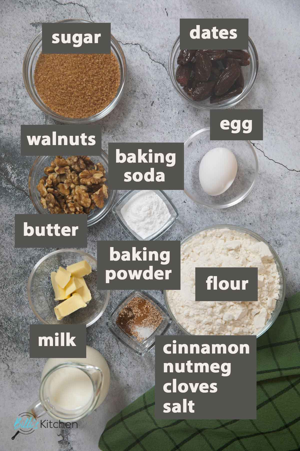 An image showing all the ingredients you need to prepare Spiced Date-Nut Bread.