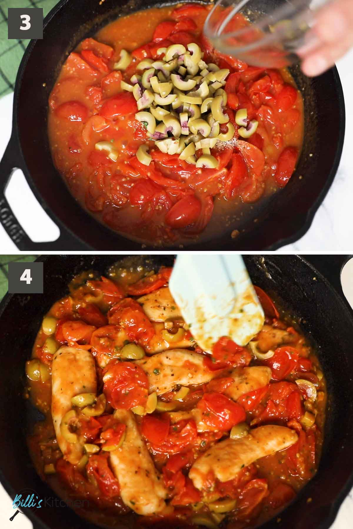 Second part of a collage of images showing the step by step process of preparing chicken and tomatoes.