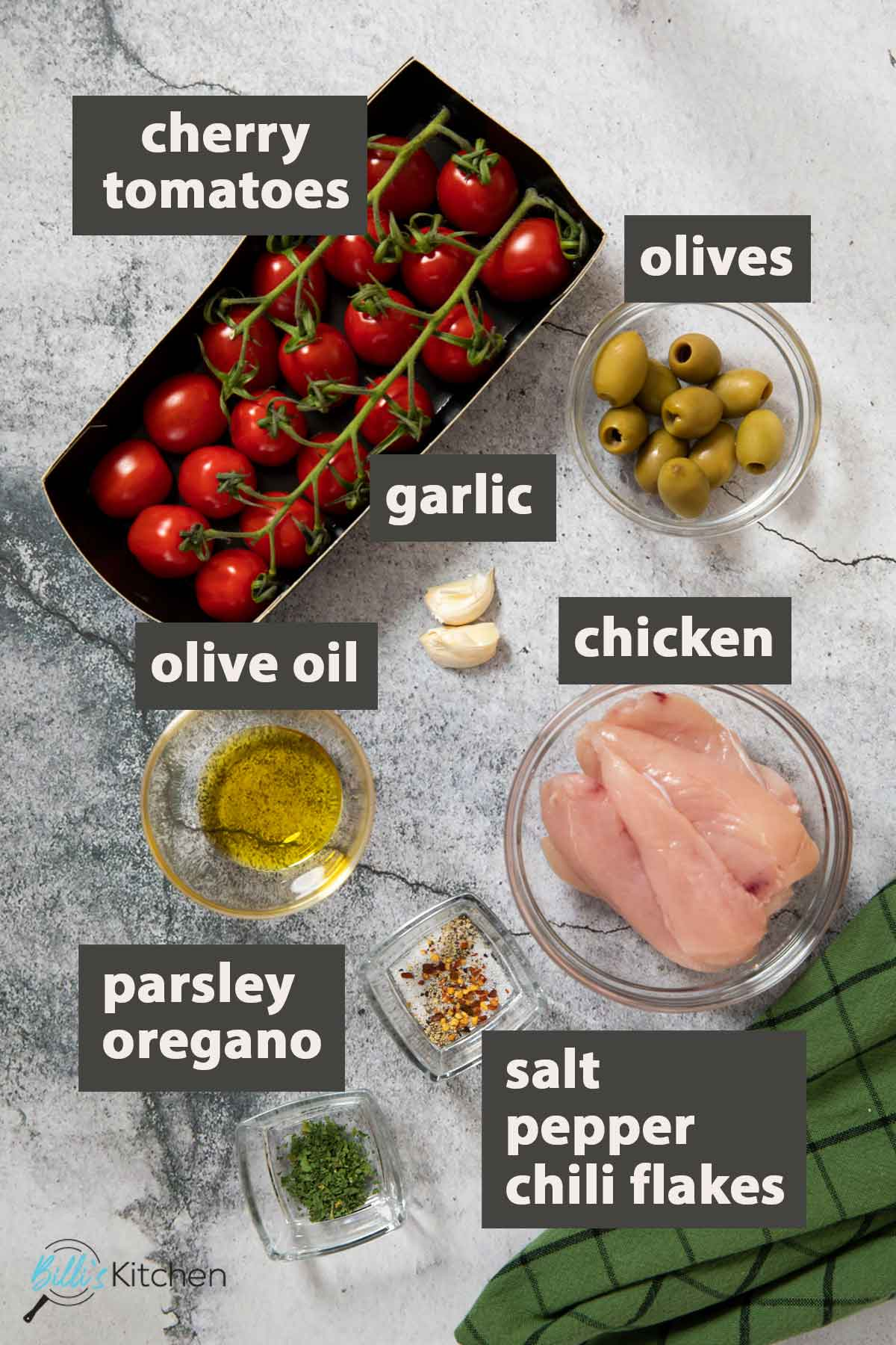 Image showing all the ingredients you need to prepare chicken with cherry tomatoes at home.