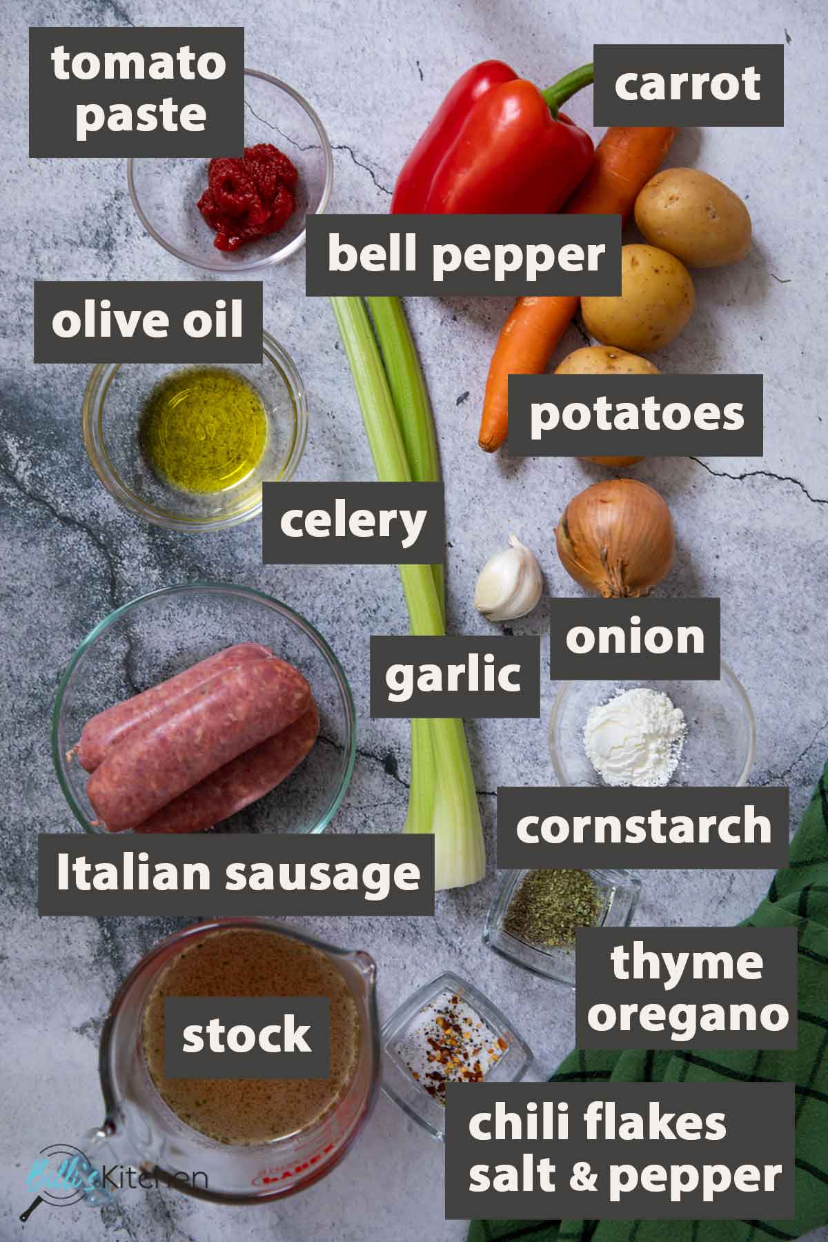 An image showing all the ingredients you need to prepare one-pot sausage stew at home.