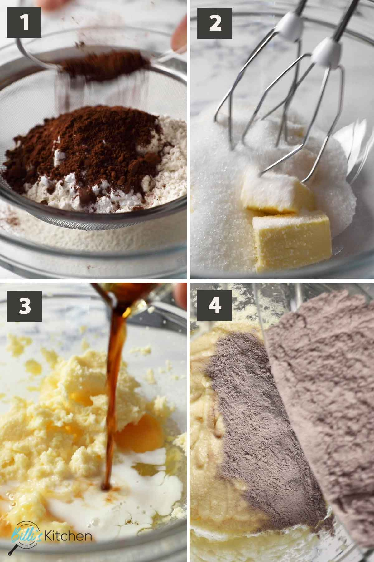 First part of a collage off images showing the step by step process of making chocolate walnut butter cake.